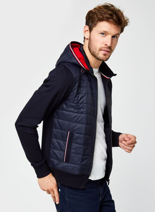 Kleding Tommy Hilfiger Mixed Media Hooded Zip Through Blauw detail