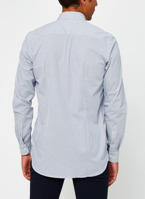 Vêtements Tommy Hilfiger Slim Dot Print Shirt Bleu vue portées chaussures