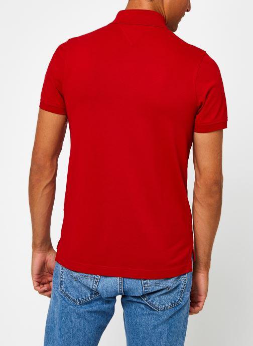 Vêtements Tommy Hilfiger Tommy Slim Polo Rouge vue portées chaussures