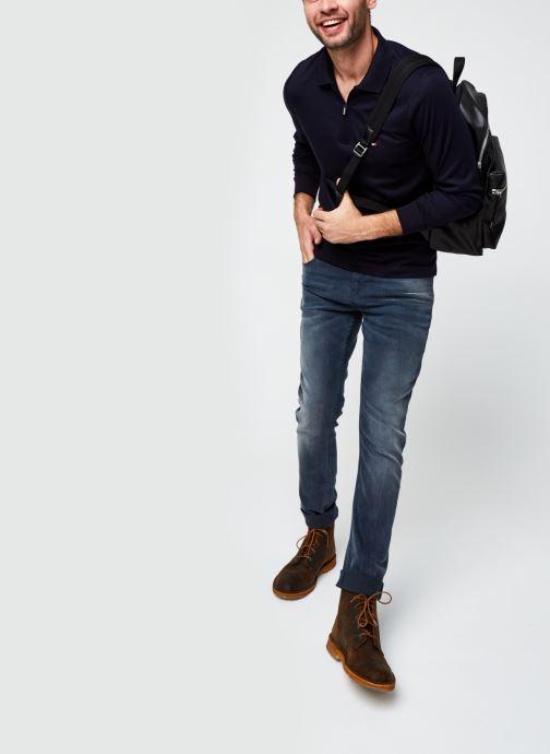 Vêtements Tommy Hilfiger Zip Interlock Slim Ls Polo Bleu vue bas / vue portée sac