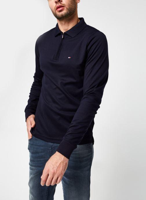 Vêtements Tommy Hilfiger Zip Interlock Slim Ls Polo Bleu vue droite