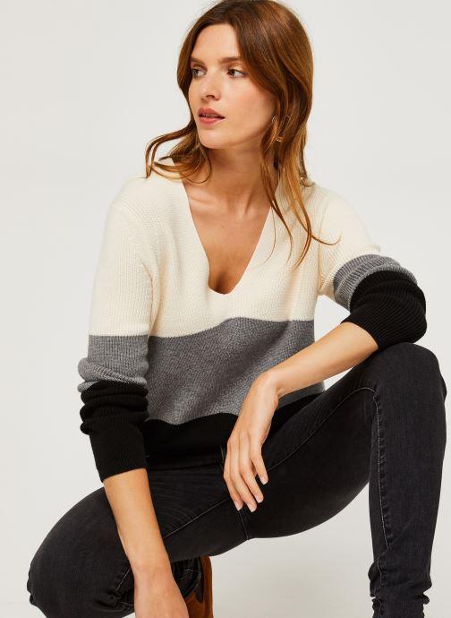 Vêtements Calvin Klein Color Block Sweater Beige vue droite