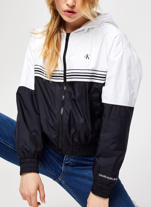 Stripe Tape Hooded Windbreaker
