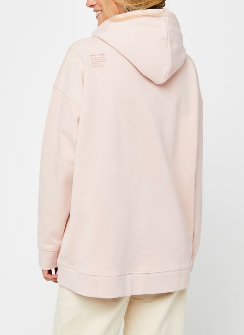 Vêtements Tommy Hilfiger Cindy Relaxed Hoodie Rose vue portées chaussures