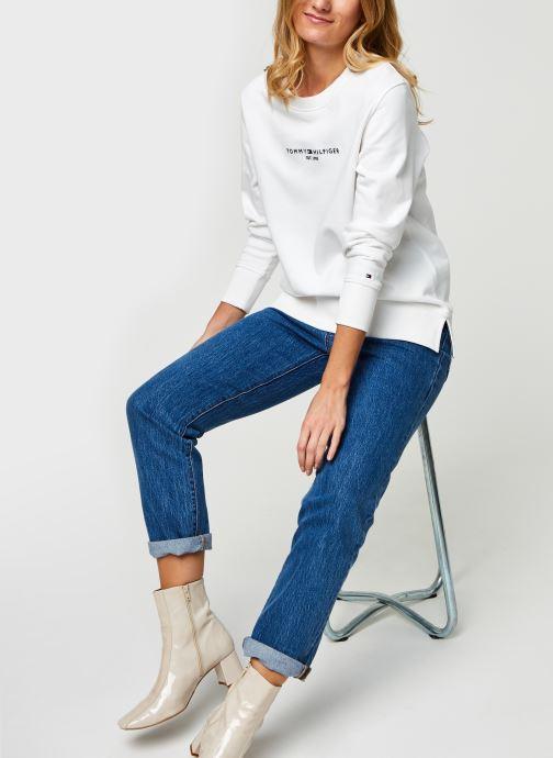 Vêtements Tommy Hilfiger Th Ess Hilfiger C-Nk Blanc vue bas / vue portée sac
