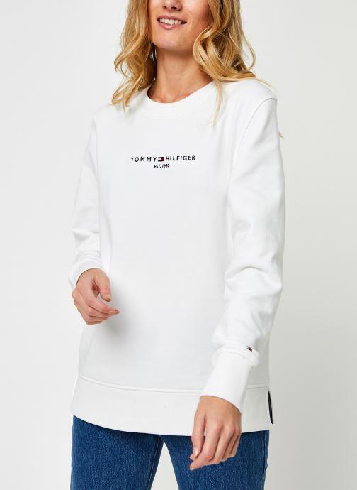 Vêtements Tommy Hilfiger Th Ess Hilfiger C-Nk Blanc vue droite