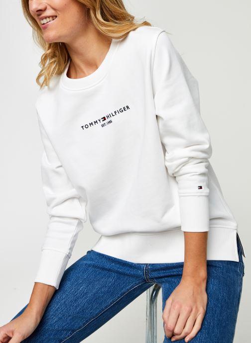 Vêtements Tommy Hilfiger Th Ess Hilfiger C-Nk Blanc vue détail/paire