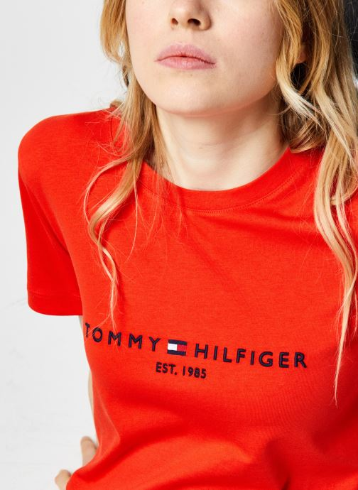 Vêtements Tommy Hilfiger Th Ess Hilfiger C-Nk Orange vue face