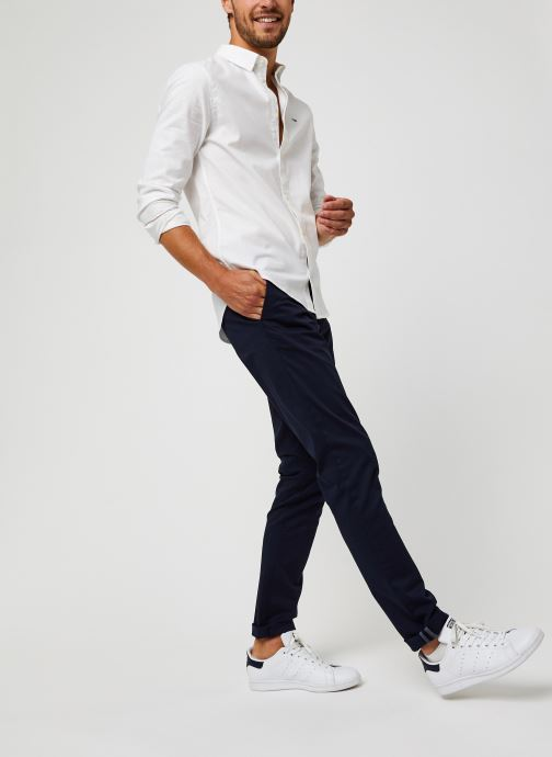 Vêtements Tommy Jeans TJM Slim Stretch Oxford Shirt Blanc vue bas / vue portée sac