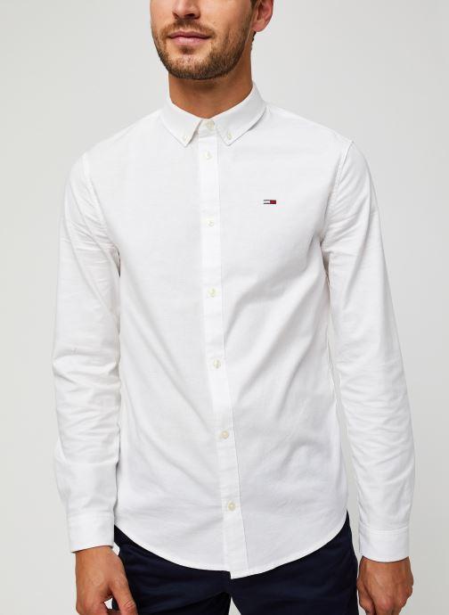 Vêtements Tommy Jeans TJM Slim Stretch Oxford Shirt Blanc vue droite