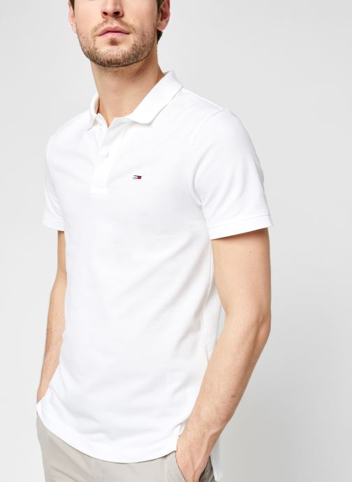 Vêtements Tommy Jeans TJM Classics Solid Stretch Polo Blanc vue détail/paire