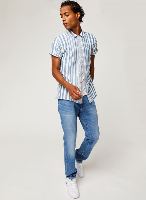 Vêtements Tommy Jeans TJM Stripe Camp Shirt Blanc vue bas / vue portée sac
