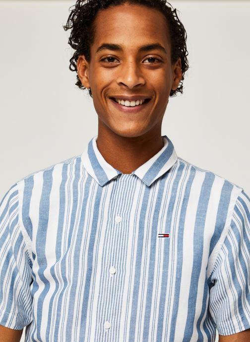 Vêtements Tommy Jeans TJM Stripe Camp Shirt Blanc vue face