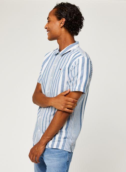 Vêtements Tommy Jeans TJM Stripe Camp Shirt Blanc vue droite