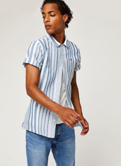 Vêtements Tommy Jeans TJM Stripe Camp Shirt Blanc vue détail/paire