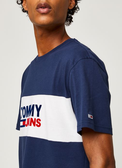 Vêtements Tommy Jeans TJM Pieced Band Logo Tee Bleu vue face