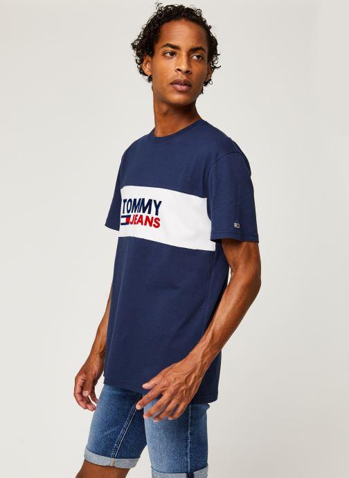 Vêtements Tommy Jeans TJM Pieced Band Logo Tee Bleu vue droite