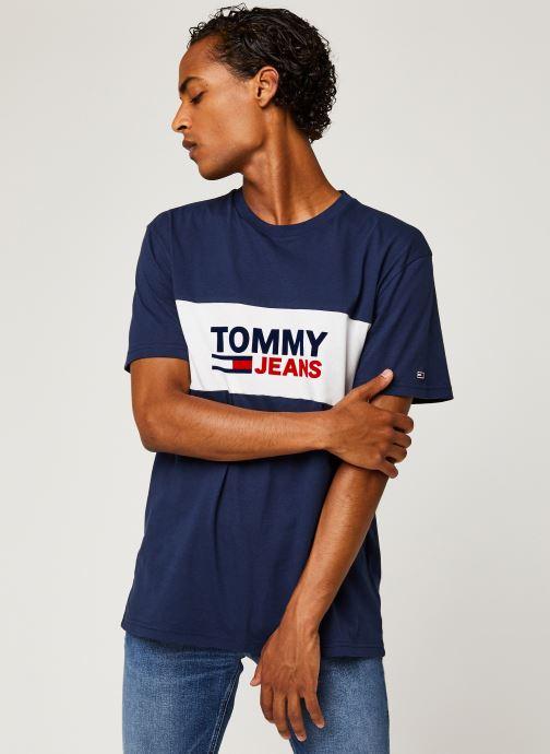 Vêtements Tommy Jeans TJM Pieced Band Logo Tee Bleu vue détail/paire
