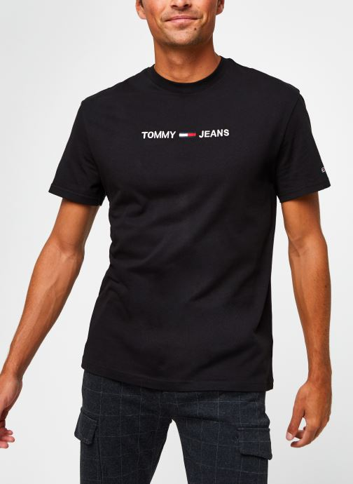 Vêtements Tommy Jeans TJM Straight Logo Tee Noir vue droite
