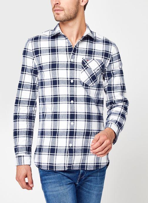 Vêtements Tommy Jeans TJM Flannel Plaid Shirt Blanc vue détail/paire