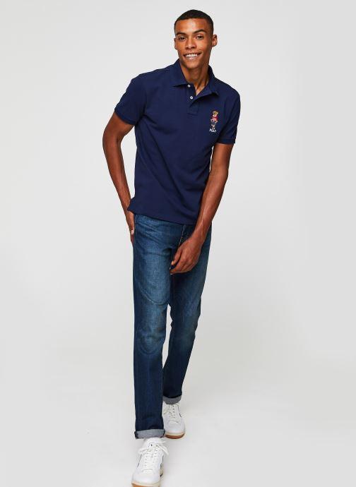 Vêtements Polo Ralph Lauren Polo MC Classic Ourson Basic Mesh Bleu vue bas / vue portée sac
