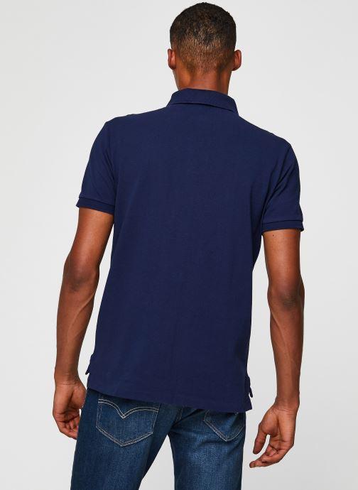 Vêtements Polo Ralph Lauren Polo MC Classic Ourson Basic Mesh Bleu vue portées chaussures