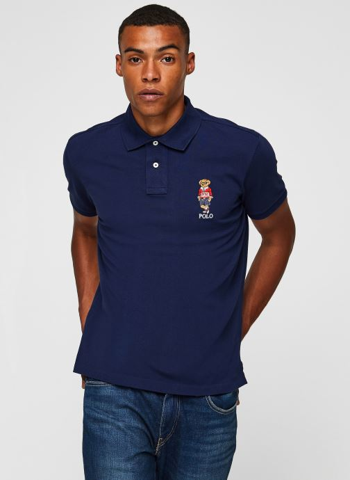 Vêtements Polo Ralph Lauren Polo MC Classic Ourson Basic Mesh Bleu vue droite