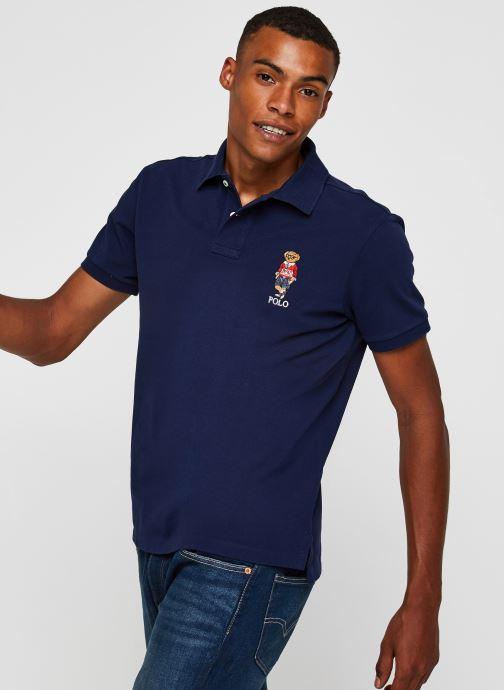 Vêtements Polo Ralph Lauren Polo MC Classic Ourson Basic Mesh Bleu vue détail/paire