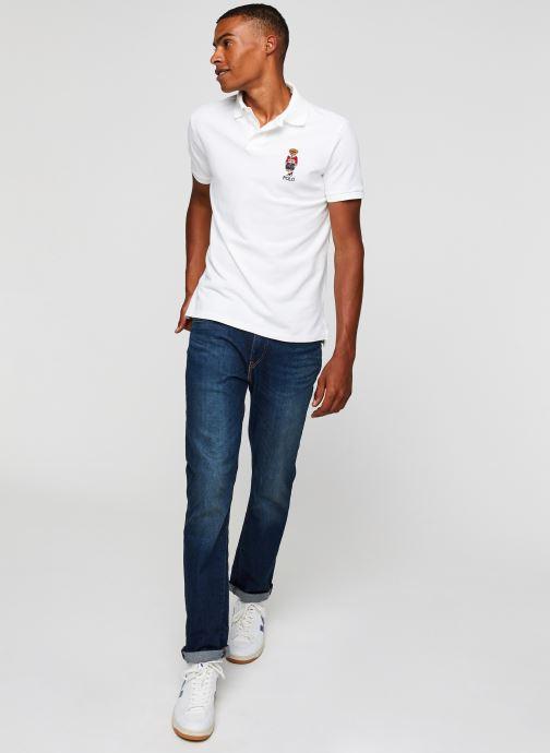 Vêtements Polo Ralph Lauren Polo MC Classic Ourson Basic Mesh Blanc vue bas / vue portée sac