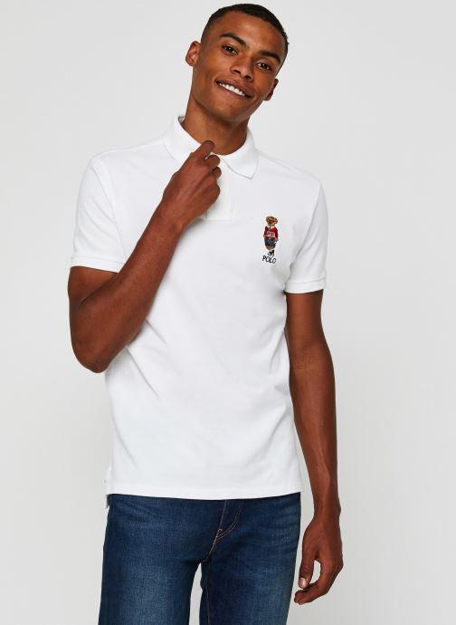 Vêtements Polo Ralph Lauren Polo MC Classic Ourson Basic Mesh Blanc vue droite