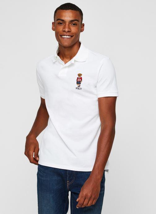 Vêtements Polo Ralph Lauren Polo MC Classic Ourson Basic Mesh Blanc vue détail/paire
