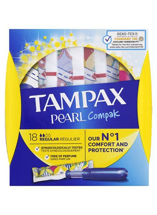 Produits d'entretien Tampax Tampons régulier avec applicateur - Pearl - La boîte de 18 Blanc vue détail/paire