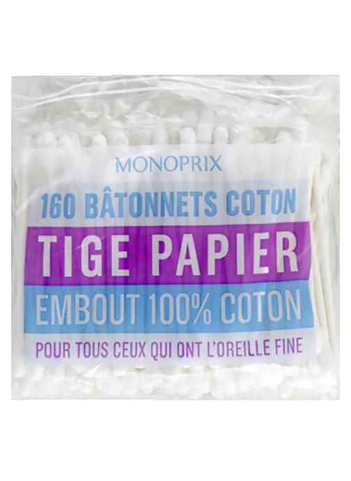 Produits d'entretien Monoprix Bâtonnets coton tige papier embout 100% coton - La boîte de 160 Blanc vue détail/paire