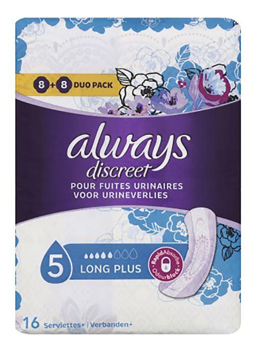 Produits d'entretien Accessoires Serviettes pour fuites urinaires, Long Plus - Le paquet de 16
