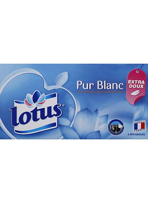 Produits d'entretien Lotus Mouchoirs Pur Blanc - La boîte de 90 Blanc vue détail/paire
