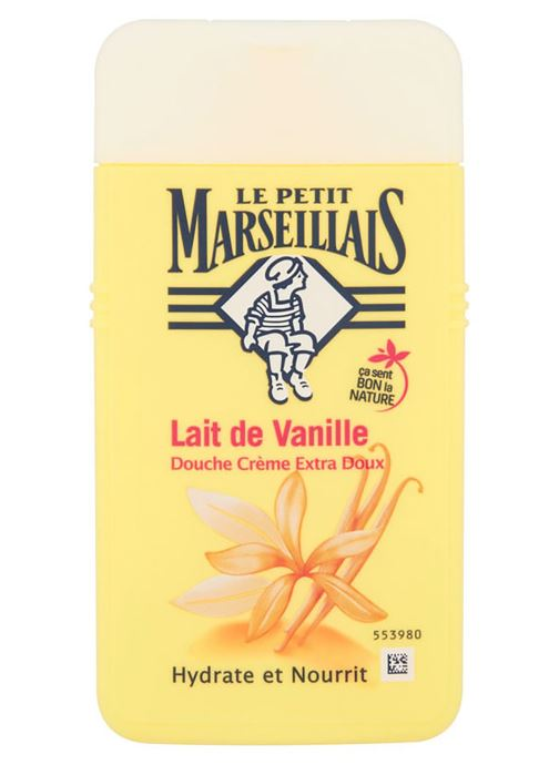 Produits d'entretien Le Petit Marseillais Gel douche extra doux lait vanille - Le tube de 250ml Blanc vue détail/paire