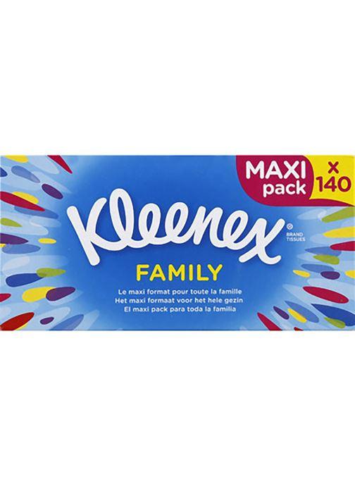 Produits d'entretien Kleenex Kleenex family box - La boite de 140 mouchoirs Blanc vue détail/paire