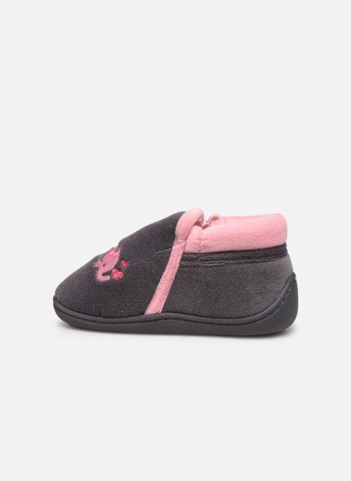 Pantofole Isotoner Bollitton zip polyvelours Grigio immagine frontale
