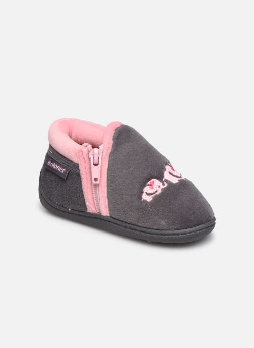 Pantofole Isotoner Bollitton zip polyvelours Grigio vedi dettaglio/paio