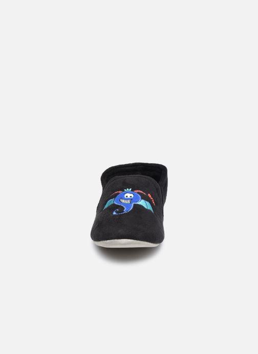 Pantuflas Isotoner Sans-Gêne suédine- monstres Negro vista del modelo
