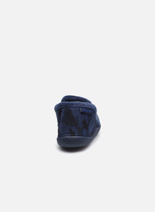 Pantuflas Isotoner Mocassin Twill Azul vista lateral derecha