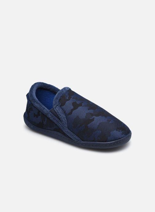 Pantuflas Isotoner Mocassin Twill Azul vista de detalle / par