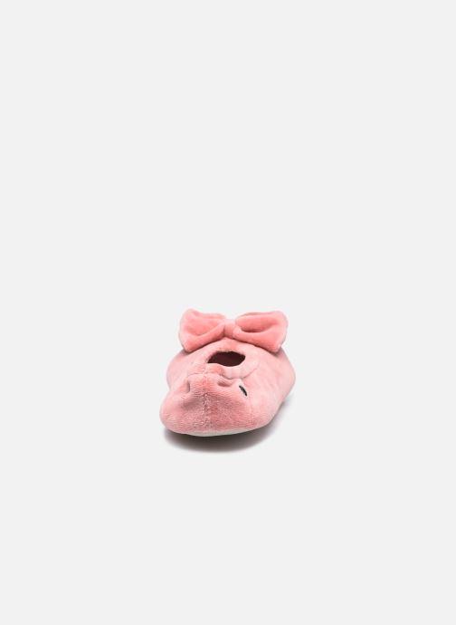 Hausschuhe Isotoner Ballerine velours bio- grand nœud rosa ansicht von rechts