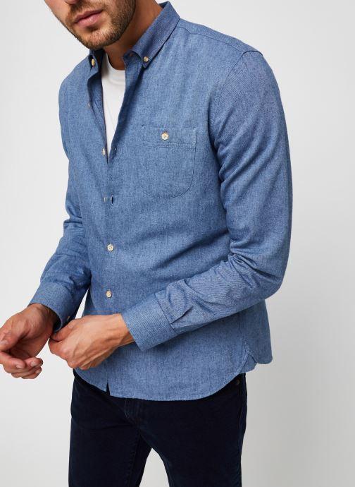 Vêtements Knowledge Cotton Apparel Chemise Elder Mélange Flannel Bleu vue détail/paire