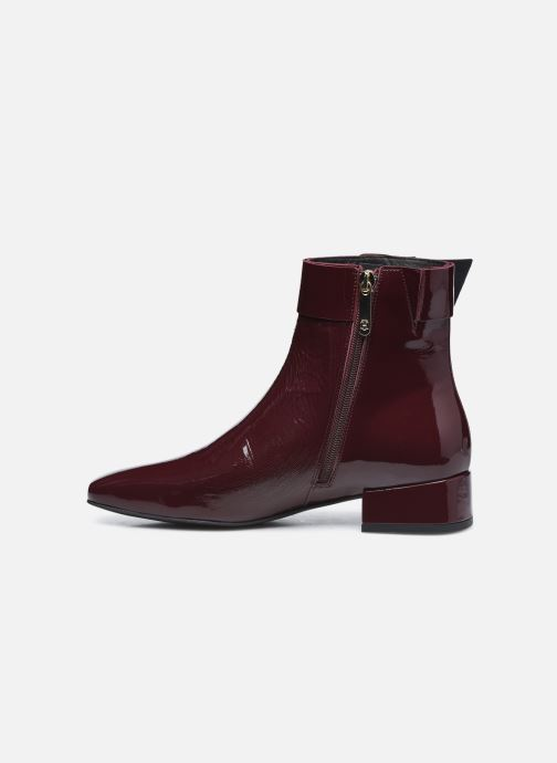 Boots en enkellaarsjes Tommy Hilfiger PATENT SQUARE TOE MID HEEL BOOT Bordeaux voorkant