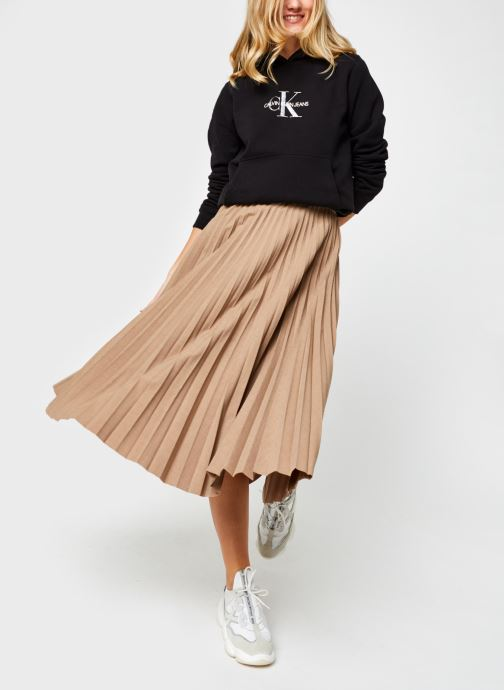 Vêtements Calvin Klein Stretch Flannel Pleat Midi Skirt Marron vue bas / vue portée sac