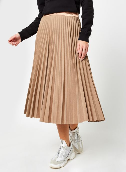 Vêtements Calvin Klein Stretch Flannel Pleat Midi Skirt Marron vue détail/paire