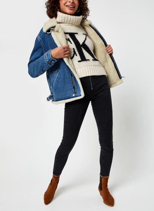 Vêtements Calvin Klein Jeans Sherpa Moto Denim Jacket Bleu vue bas / vue portée sac