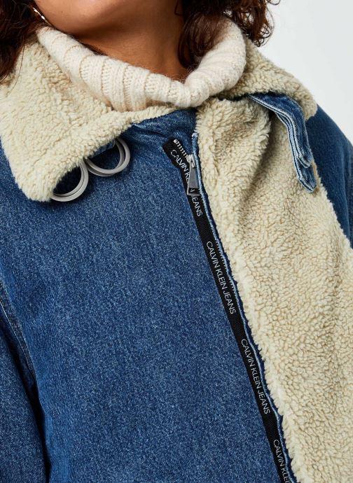 Vêtements Calvin Klein Jeans Sherpa Moto Denim Jacket Bleu vue face