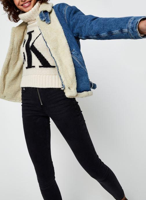 Vêtements Calvin Klein Jeans Sherpa Moto Denim Jacket Bleu vue détail/paire
